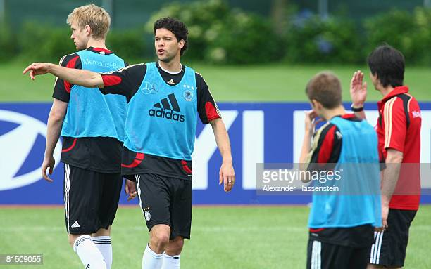Michael Ballack of Germany gives instructions to his team mates during the training session of the German national team at the Centro Sportivo Tenero...