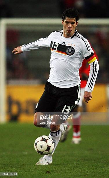 Michael Ballack of Germany in action during the international friendly match between Switzerland and Germany at the St JakobPark on March 26 2008 in...