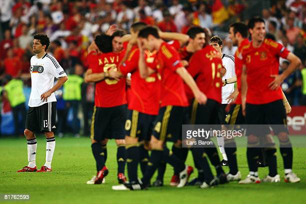Michael Ballack of Germany looks dejected after the UEFA EURO 2008 Final match between Germany and Spain at Ernst Happel Stadion on June 29 2008 in...