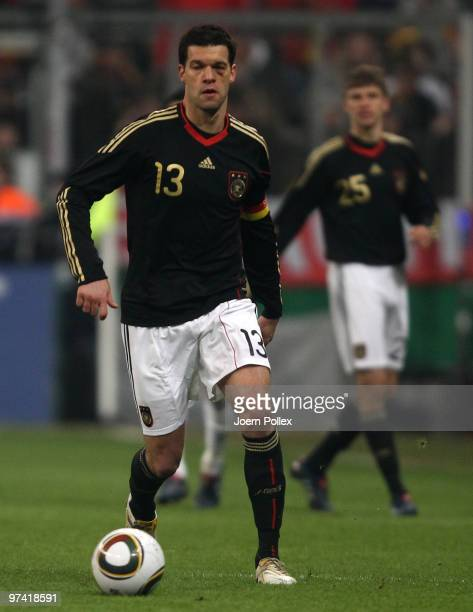 Michael Ballack of Germany plays the ball during the International Friendly match between Germany and Argentina at the Allianz Arena on March 3 2010...