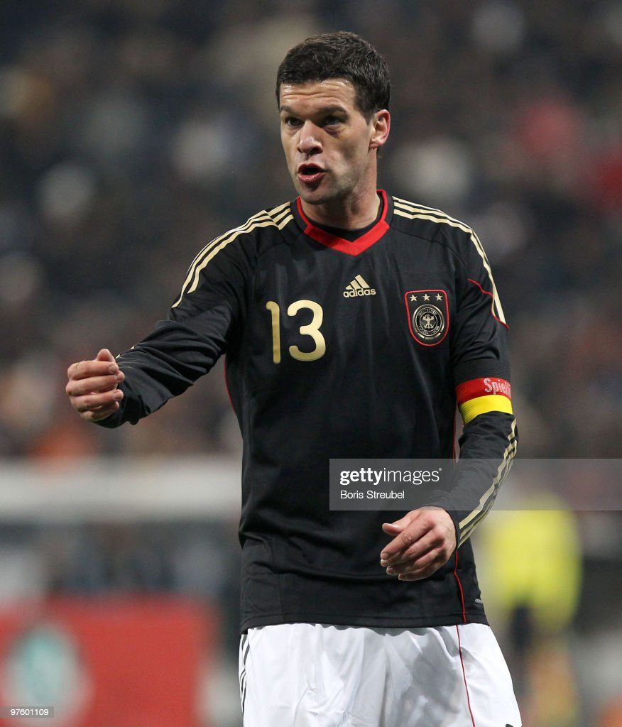 Michael Ballack of Germany reacts during the International Friendly match between Germany and Argentina at the Allianz Arena on March 3, 2010 in Munich, Germany.