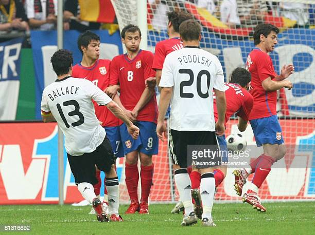 Michael Ballack of Germany sciores the second goal during the German international friendly match between Germany and Serbia at the Stadium...