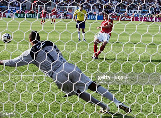 Michael Ballack of Germany scores the qualising goal from the penalty spot during the FIFA Confederations Cup 2005 semi-final match between Germany...