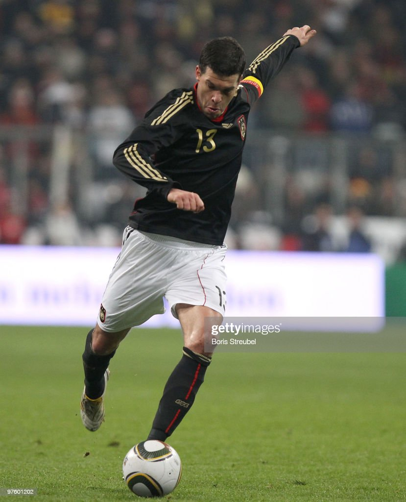Michael Ballack of Germany shoots the ball during the International Friendly match between Germany and Argentina at the Allianz Arena on March 3, 2010 in Munich, Germany.