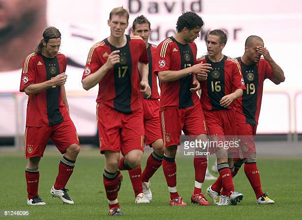 Michael Ballack of Germany speaks with Philipp Lahm after the second goal during the international friendly match between Germany and Belarus at the...