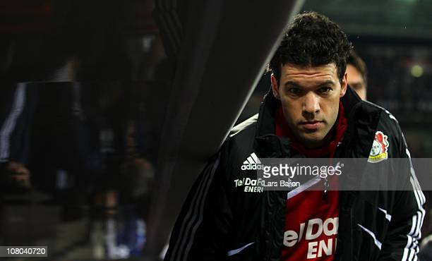 Michael Ballack of Leverkusen is seen on his way to the bench during the Bundesliga match between Bayer Leverkusen and Borussia Dortmund at BayArena...