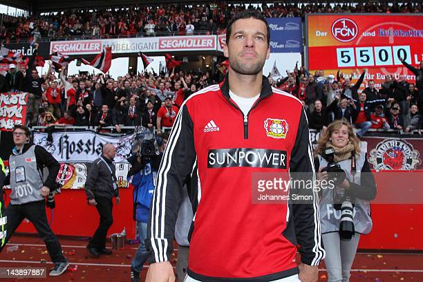Michael Ballack of Leverkusen looks on after the Bundesliga match between 1 FC Nuernberg and Bayer 04 Leverkusen at Easy Credit Stadium on May 5 2012...