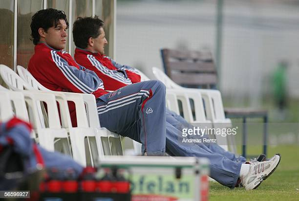 Michael Ballack of Munich who was injured in the morning training session looks on during the friendly match between Bayern Munich and FC Zuerich at...
