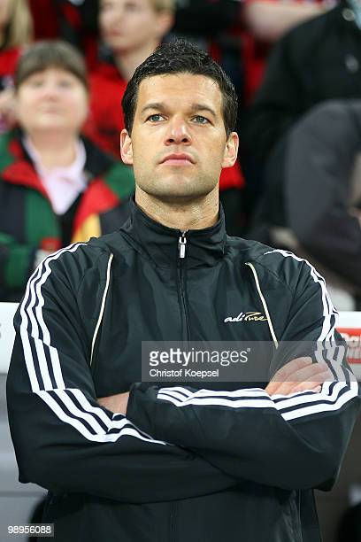 Michael Ballack of Schnix All Stars stands on the bench during the Bernd Schneider farewell match between Bayer Leverkusen and Schnix All Stars at...