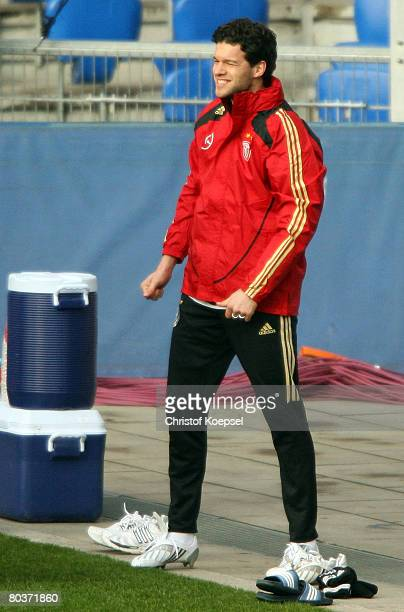 Michael Ballack smiles during the German National Team training session at the St. Jakob Park Stadium on March 25, 2008 in Basel, Switzerland.