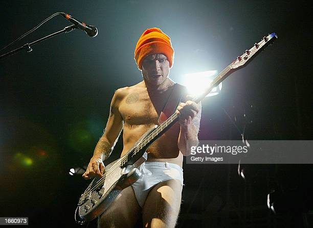 Michael Balzary known as 'Flea' of the rock group the Red Hot Chili Peppers performs at the Brisbane Entertainment Centre November 26 2002 in...