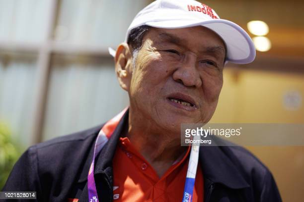 Michael Bambang Hartono coowner of Djarum Group speaks to members of the media at the 18th Asian Games in Jakarta Indonesia on Aug 21 2018 Hartono...