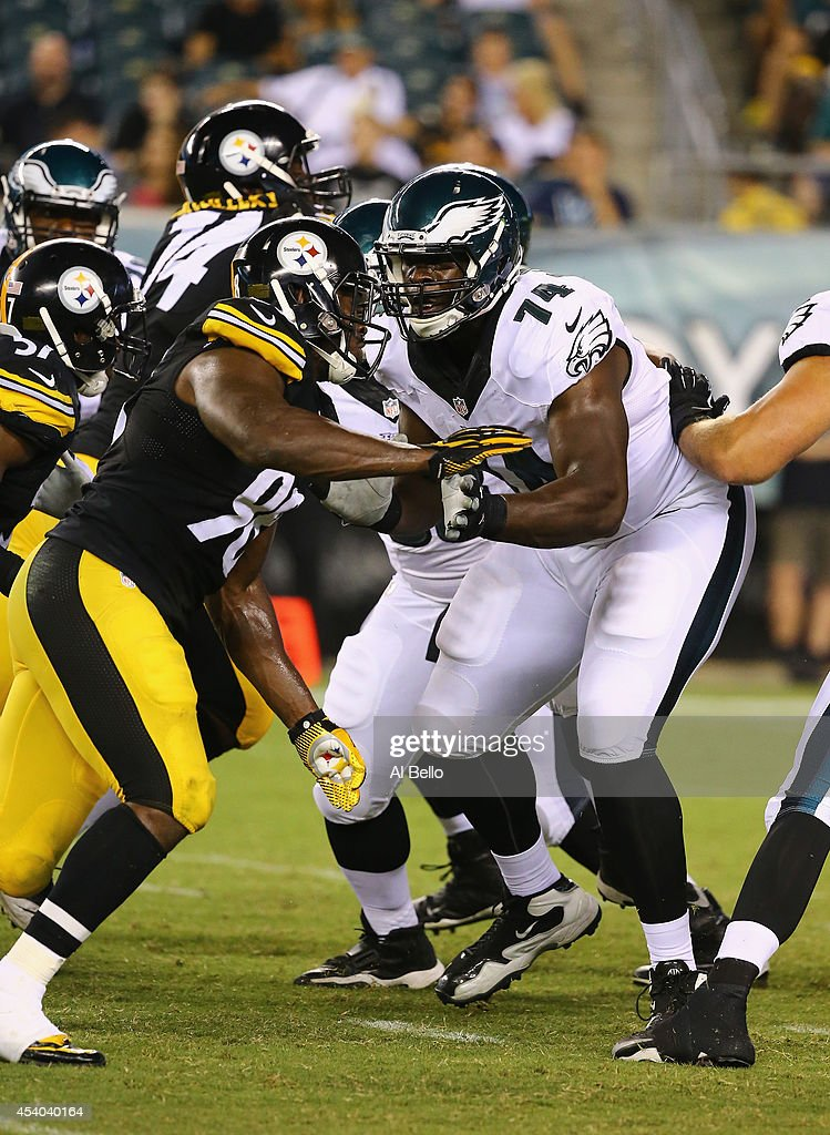 Michael Bamiro #74 of the Philadelphia Eagles in action against the Pittsburgh Steelers during their Pre Season game at Lincoln Financial Field on August 21, 2014 in Philadelphia, Pennsylvania.