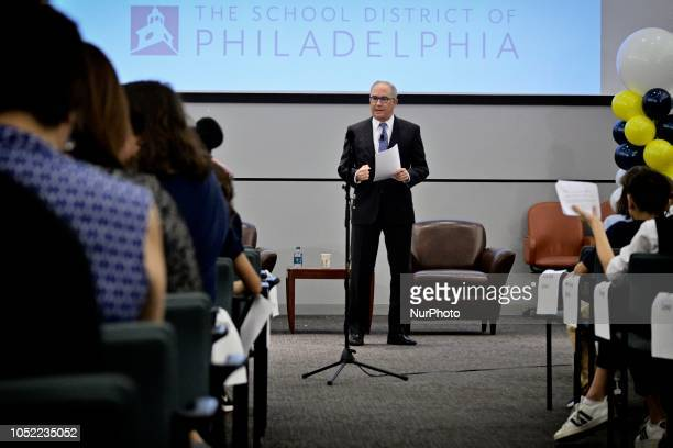Michael Barkann moderates a forum with the Democratic and Republican candidate for the seat of Governor at the School District of Philadelphia...