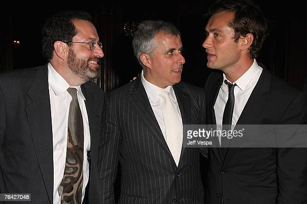 Michael Barker Simon Halfon and Jude Law attend the Sleuth Cocktail Party during Day 2 of the 64th Annual Venice Film Festival on August 30 2007 in...