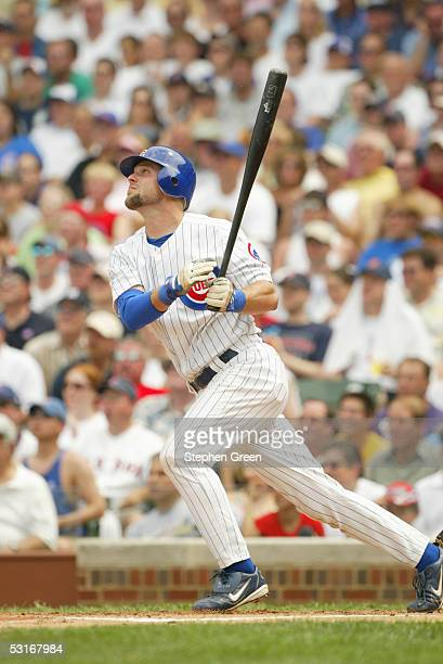 Michael Barrett of the Chicago Cubs bats during the game against the Boston Red Sox at Wrigley Field on June 10 2005 in Chicago Illinois The Cubs...