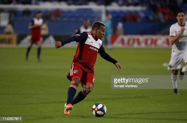 Michael Barrios of FC Dallas dribbles the ball against the Portland Timbers at Toyota Stadium on April 13, 2019 in Frisco, Texas.