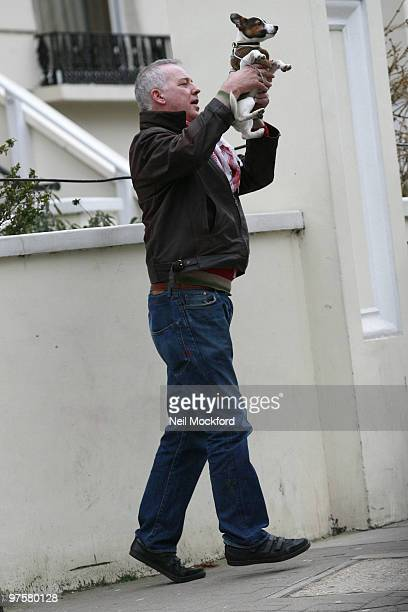 Michael Barrymore Seen talking to a friend whilst walking his dog through Notting Hill on March 9 2010 in London England