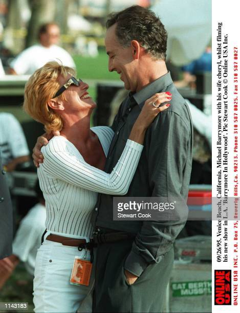 Michael Barrymore with his wife Cheryl whilst filming his new show in LA '' Barrymore In Hollywood ''