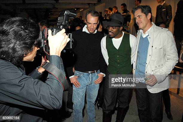 Michael Bastian Andre 3000 and Peter King Hunsinger attend GQ/CFDA Best New Menswear Designers Party at 620 Fifth Avenue on January 30 2008 in New...