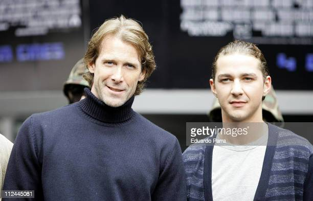 Michael Bay and Shia LaBeouf during 'Transformers' Madrid Photocall at Negone in Madrid Spain