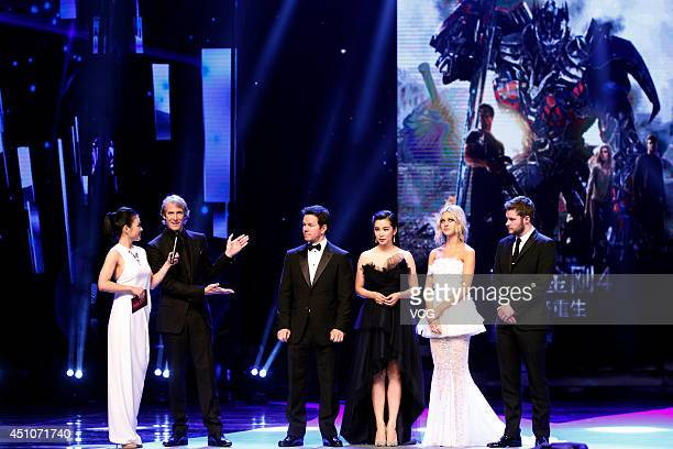 Michael Bay Mark Wahlberg Li Bingbing Nicola Peltzat and Jack Reynor attend the closing and award ceremony of the 17th Shanghai International Film...