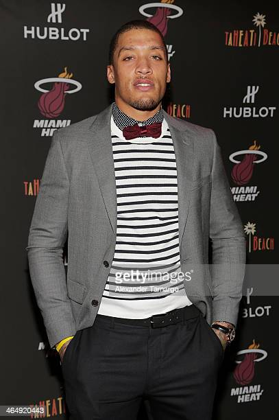 Michael Beasley attends the Miami Heat Family Foundation TaHEATi Beach Fundraising Event brought to you by Hublot on January 24 2014 in Coral Gables...