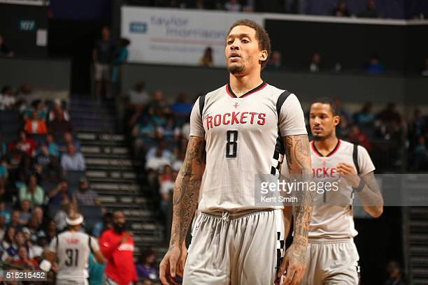 Michael Beasley of the Houston Rockets during the game against the Charlotte Hornets on March 12 2016 at Time Warner Cable Arena in Charlotte North...