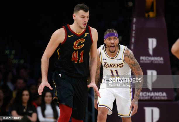 Michael Beasley of the Los Angeles Lakers yells as Ante Zizic of the Cleveland Cavaliers looks on during the first half of a game at Staples Center...