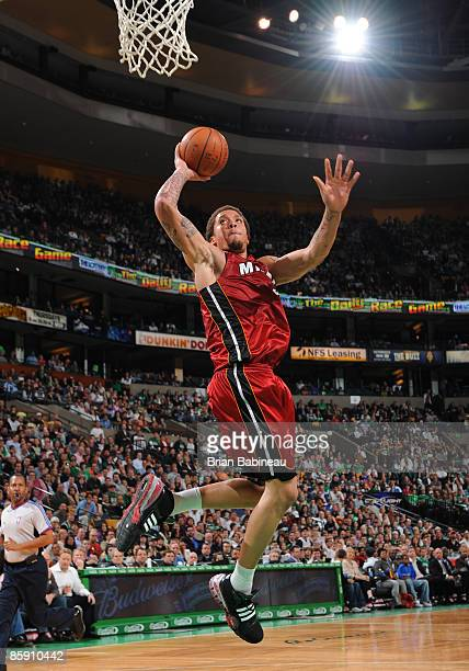 Michael Beasley of the Miami Heat goes up for the dunk against the Boston Celtics on April 10 2009 at the TD Banknorth Garden in Boston Massachusetts...