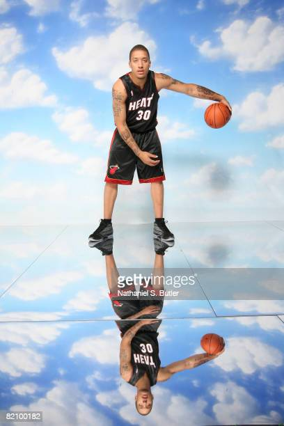 Michael Beasley of the Miami Heat poses for a portrait during the 2008 NBA Rookie Photo Shoot on July 29 2008 at the MSG Training Facility in...