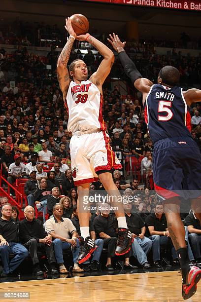 Michael Beasley of the Miami Heat shoots against the Atlanta Hawks in Game Four of the Eastern Conference Quarterfinals during the 2009 NBA Playoffs...