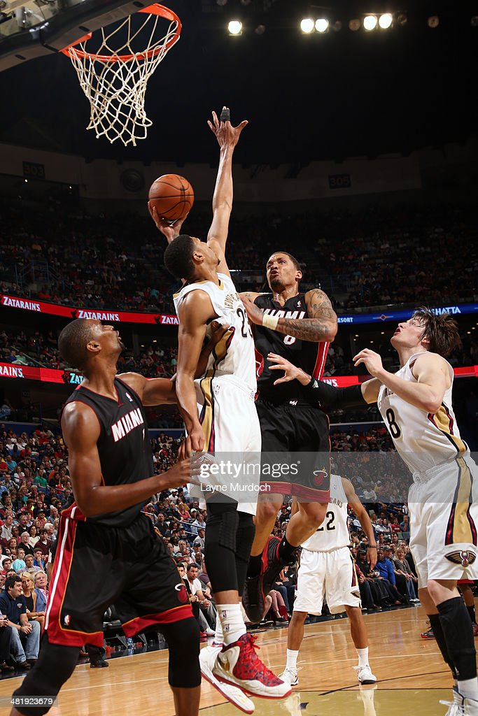 Michael Beasley #8 of the Miami Heat shoots against the New Orleans Pelicans on March 22, 2014 at the Smoothie King Center in New Orleans, Louisiana.