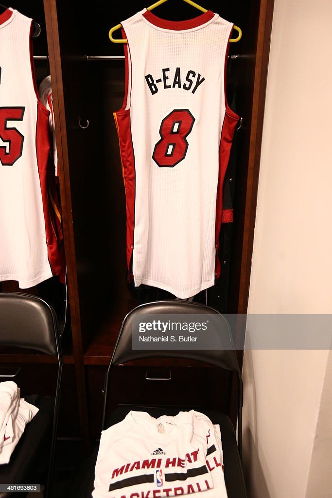 the best attitude 7218e 2e057 Michael Beasley of the Miami Heat's jersey hangs in the ...