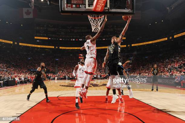 Michael Beasley of the Milwaukee Bucks shoots the ball against the Toronto Raptors in Game Five of the Eastern Conference Quarterfinals during the...