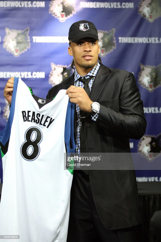 Michael Beasley of the Minnesota Timberwolves is introduced to the media on July 15, 2010 at the Target Center in Minneapolis, Minnesota.