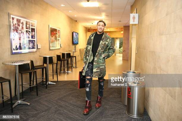 Michael Beasley of the New York Knicks arrives to the arena prior to the game against the Miami Heat on November 29 2017 at Madison Square Garden in...