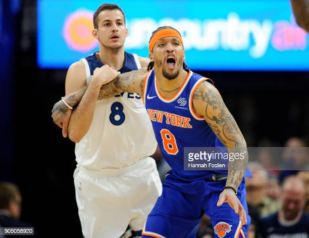 Michael Beasley of the New York Knicks calls for the ball while Nemanja Bjelica of the Minnesota Timberwolves defends during the game on January 12...