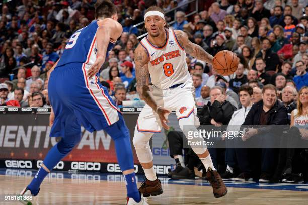 Michael Beasley of the New York Knicks dribbles the ball against the Philadelphia 76ers on February 12 2018 in Philadelphia Pennsylvania at Wells...