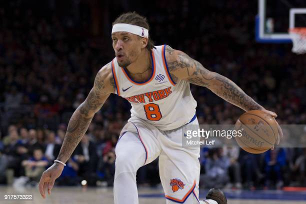 Michael Beasley of the New York Knicks drives to the basket against the Philadelphia 76ers in the third quarter at the Wells Fargo Center on February...