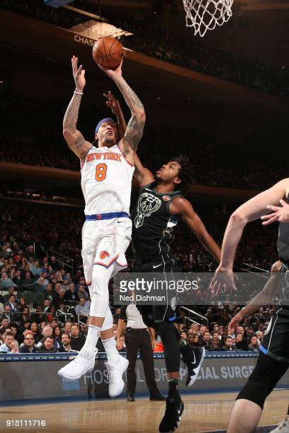 Michael Beasley of the New York Knicks drives to the basket during the game against the Milwaukee Bucks on February 6 2018 at Madison Square Garden...