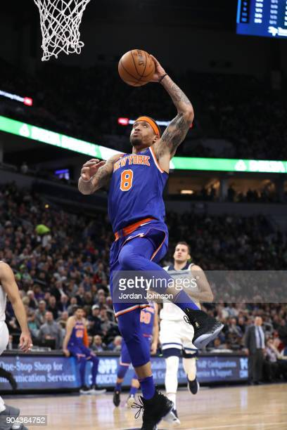 Michael Beasley of the New York Knicks dunks against the Minnesota Timberwolves on January 12 2018 at Target Center in Minneapolis Minnesota NOTE TO...