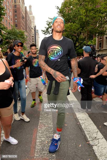 Michael Beasley of the New York Knicks during the NYC Pride Parade on June 24 2018 in New York City New York NOTE TO USER User expressly acknowledges...