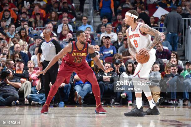 Michael Beasley of the New York Knicks handles the ball against Tristan Thompson of the Cleveland Cavaliers on April 11 2018 at Quicken Loans Arena...