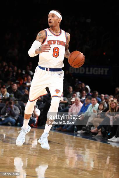Michael Beasley of the New York Knicks handles the ball against the Brooklyn Nets during the preseason game on October 3 2017 at Madison Square...