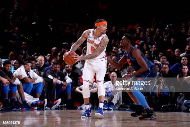 Michael Beasley of the New York Knicks handles the ball against the Oklahoma City Thunder on December 16 2017 at Madison Square Garden in New York...