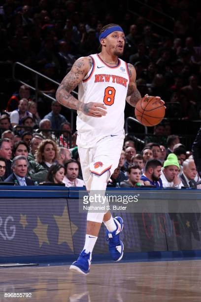 Michael Beasley of the New York Knicks handles the ball against the Boston Celtics on December 21 2017 at Madison Square Garden in New York City New...