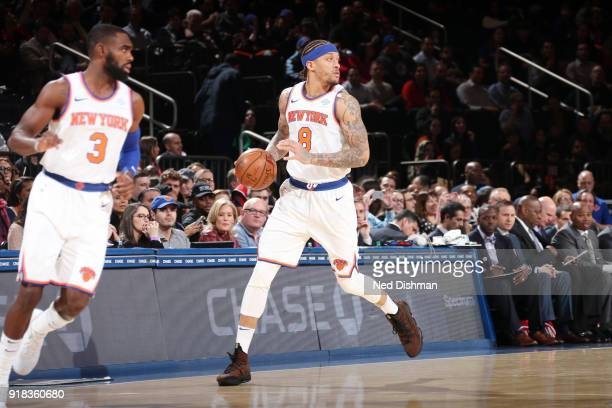 Michael Beasley of the New York Knicks handles the ball against the Washington Wizards on February 14 2018 at Madison Square Garden in New York NY...