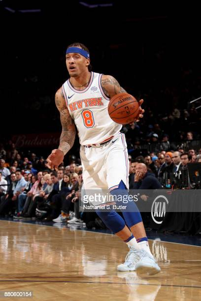 Michael Beasley of the New York Knicks handles the ball during the game Portland Trail Blazers on November 27 2017 at Madison Square Garden in New...