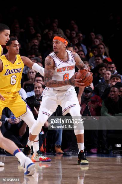 Michael Beasley of the New York Knicks handles the ball during the game against the Los Angeles Lakers on December 12 2017 at Madison Square Garden...